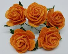 ORANGE ROSES (2.5 cm) Mulberry Paper Roses (Previously known as 3.0 cm)